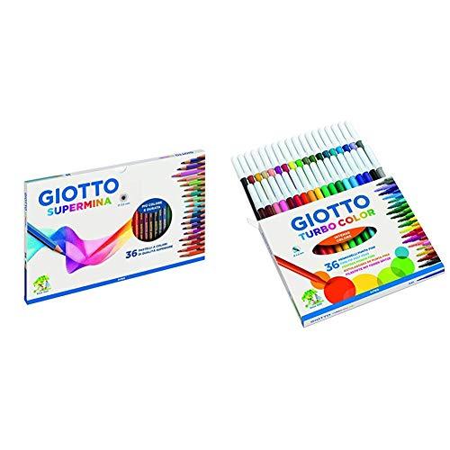 Giotto Supermina 36 pastelli a colori, assortiti, 36 Pezzi & Turbo Color pennarelli in astuccio da 36 colori
