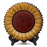 CVHOMEDECO. Sunflower Plate with Rack Primitives Rustic Display Wooden Plate Home and Office Décor Art, 11 Inch (Mustard Plate with Rack)