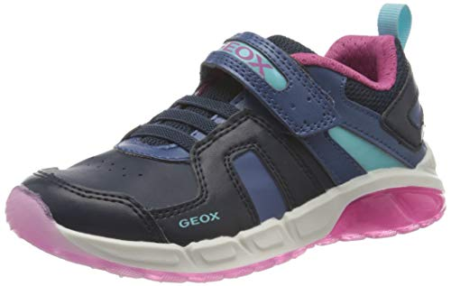Geox J SPAZIALE Girl A, Zapatillas para Niñas, Navy/Fuchsia, 24 EU