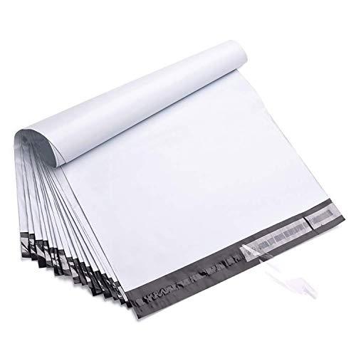 Paquete de 100 bolsas de envío blancas Sobres de plástico autoadhesivos para tarjetas postales Bolsas de correo a prueba de agua y de roturas, 35x45+5cm