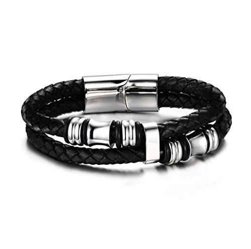 AnazoZ Bijoux de mode Bracelet Bracelet pour homme Bracelet de cordon de cuir tressé Bracelet Taille 20.8x 1.4cm Bracelet pour homme