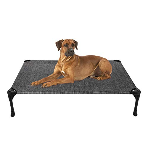 Veehoo Cooling Elevated Dog Bed - Portable Raised Pet Cot with Washable & Breathable Mesh, No-Slip Rubber Feet for Indoor & Outdoor Use, Large, Black Silver