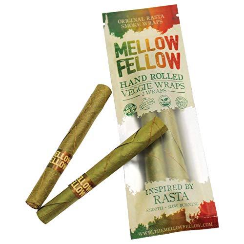 Mellow Fellow Premium Organic Smoke Wraps – Hand Rolled Original Rasta Pre-rolled Wraps – Veggie Wraps – 2 Wrap Pack