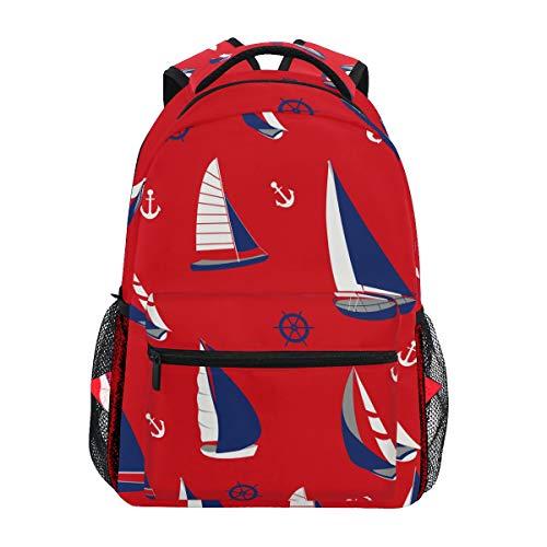 Mochila náutica con diseño de ancla náutica para el barco, para estudiantes, escuela, viajes, senderismo, camping, portátil, mochila