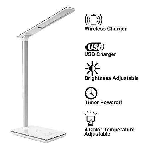 LED bureaulamp Office Light met Wireless Charging Function Mobile Phone Folding QI Wireless Charger voor Galaxy S7 S8 S8 S9 Edge, iPhone X 8 Plus, White