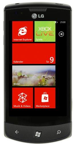 LG E900 Optimus 7 Smartphone (Windows Phone 7, 9.7cm (3.8 Zoll) Touchscreen, 5MP Kamera, GPS, WiFi, 16GB interner Speicher) schwarz