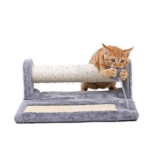 PAWZ Road Katze Kratzbaum und Pad mit Spielzeug -Frühling Spielzeugball, Faltbare Katzen Scratch Board & Post (2 in 1), voller Sisal und Plüsch bedeckt-grau