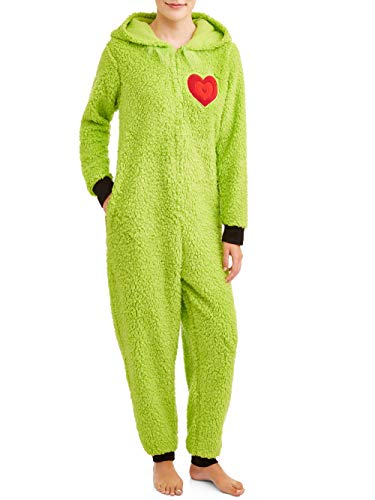 Grinch Womens and Womens Plus Sherpa Union Suit