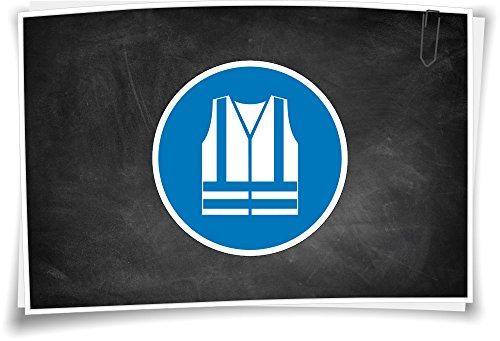 Medianlux Gebotszeichen M015 Warnweste benutzen Aufkleber Piktogramm Selbstklebend, 10cm - 2 Stück