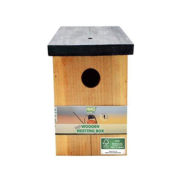 Handy Home and Garden Pressure Treated Wooden Wild Bird House Wood Nesting Box - Choose Between Standard Wood or 100% FSC Wood