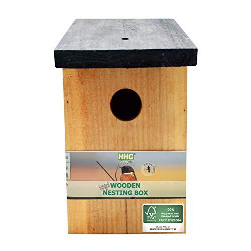 1 x Handy Home and Garden Caja Nido de Madera con Madera Tratada a Presión para Aves Silvestres y de Jardín - Hecho con 100% de Madera FSC, Bosques Sostenibles Amigables con el Medio Ambiente