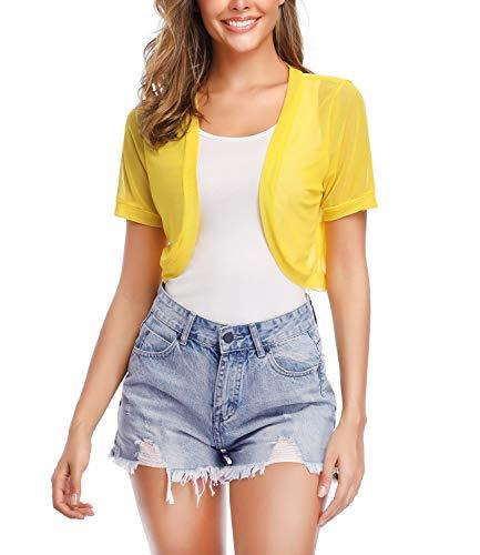 Aranmei Women Short Sleeve Shrug Sheer Chiffon Open Front Cropped Bolero Cardigan (Yellow Medium)