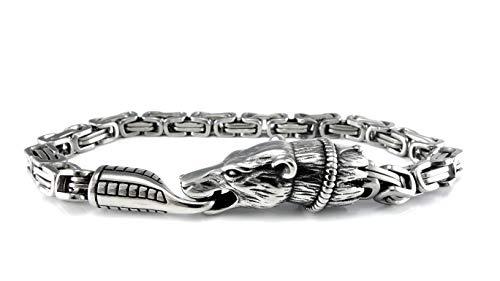 Massive Edelstahl Wikinger Armkette Fenris Wolf - 23 cm