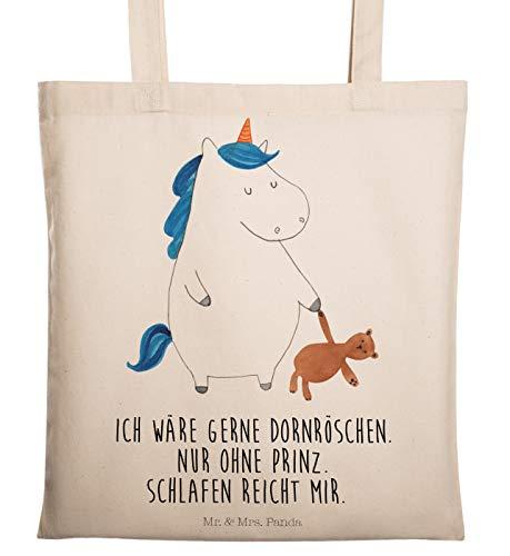 Mr. & Mrs. Panda Tasche, Jutebeutel, Tragetasche Einhorn Teddy mit Spruch - Farbe Transparent