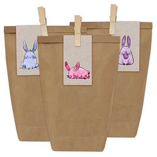 Papierdrachen 12 DIY Geschenktüten zu Ostern zum Basteln - Kreatives Osternest mit 12 Papiertüten und Osterhasen Aufklebern - Design 17