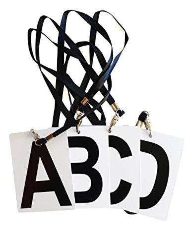 Handball Karten zur Markierung der Mannschaftsoffiziellen ABCD mit Band