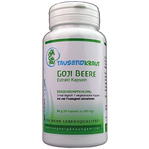 Goji Beeren Extrakt (90 Kapseln) Nahrungsergänzungsmittel [Premium Qualität aus der Tiefebene Tibets] Tausendkraut