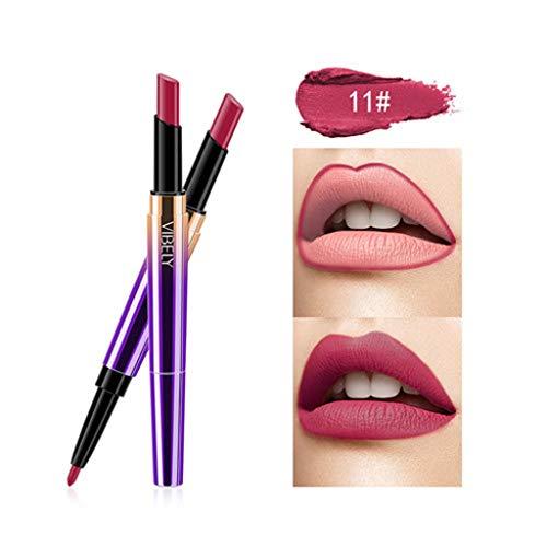 Kolylong Rouge à lèvres Double tête Femme Crayon à lèvres Cosmétique maquillage des lèvres Lining Durable Imperméable lipstick Lipliner Longue Durée Soins à Lèvres cosmétique beauté (K)