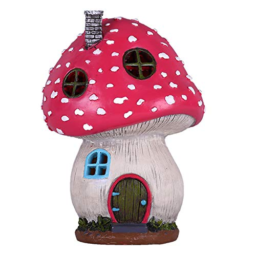 TERESA'S COLLECTIONS Mushroom Fairy House Garden Statue Accessories with Solar Powered Lights, Waterproof Resin Outdoor Cottage Garden Figurines Lawn Ornaments for Patio Yard Decorations, 7.5 inch