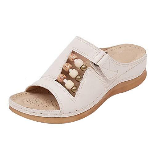 MoneRffi Laides Sandalen Slippers Damen Pantoffeln Schuhe Casual Bequeme Slingback Open Toe Schuhe Orthopädische Pantolette Hausschuhe rutschfest Sommer Aushöhlen Blumen Sandaletten(Weiß,39)