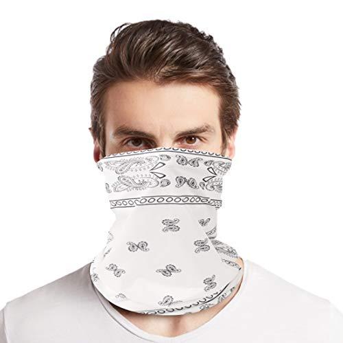 Reach Star Breathable White Paisley Neck Gaiters Men Women Summer Headwear Face Scarf Wrap UV Sun Protection Balaclava for Outdoor Rave (P-03)