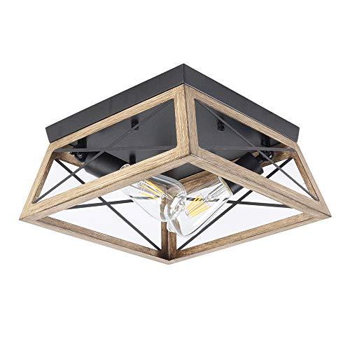 Rustikal Deckenleuchte Vintage Deckenlampe Flurlampe Retro Holz Farbe Metall Esszimmerlampe Decken-Licht Antik Lampe Deckenbeleuchtung für Korridor Cafe Bar Esstisch Küche, 2- Flammig, E27- Fassung