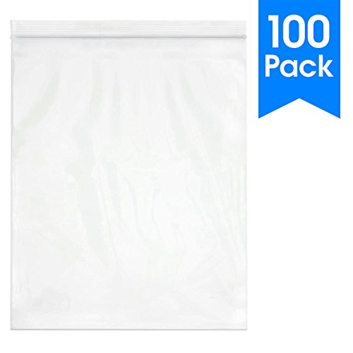 """Spartan Industrial    100 Count - 13 X 15"""" - 2 Gallon Clear Plastic Reclosable Zip Poly Bags with Resealable Lock Seal Zipper - 2 Mil (More Sizes Available)"""