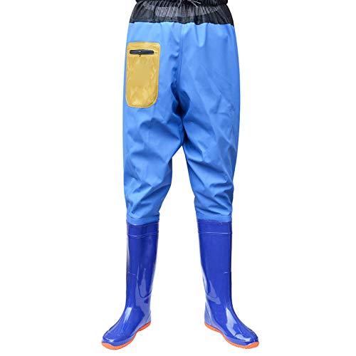 CXYY Anglerhose Wasserdicht Mit Stiefel, Atmungsaktive Waders Für Das Fliegenfischen in Der Brust 100% Nylonoberfläche, Verdickt, Wasserdicht Und Fein Gewebtes Netzwaten,Blau,EU38