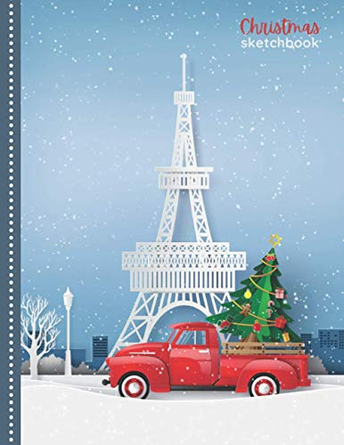 Christmas Sketchbook: Paper Craft Red Pick Up Truck and Tree / 8.5x11 Unlined Art Notebook for Kids Teens and Adults with Sketch Paper for Drawing - ... / Doodle Gift for People Who Love to Draw