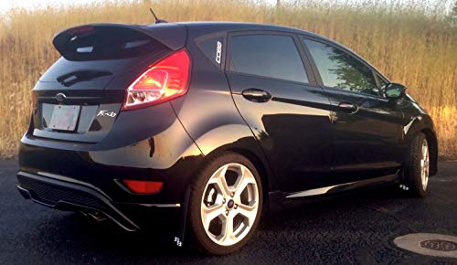 RokBlokz Rally Mud Flaps for 2014-2019 Ford Fiesta ST - Set of 4 Splash Guard Accessories - Multiple Colors and Logos Available - Fits MK6 Models - Not for MK3 Focus (Black with Red Logo, Original)