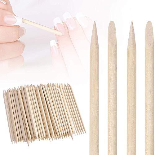 100 bastoncini di legno arancio per unghie e cuticole, strumento per manicure e pedicure, strumento per pusher, manicure e pedicure, 4,3 pollici