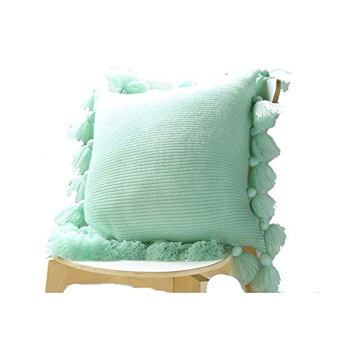 MICEROSHE Exquisite Pillowcase Pillow Cover Knitted Tassel Square Solid Color Throw Pillow Cushion Cover Decorative Pillowcases For Sofa Chair Couch Bedroom Lightweight and Soft (Color : Mint Green)