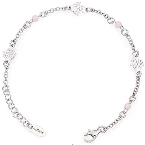 Amen Bracciale In Argento 925 Collezione Junior - Colore Rodio - Misura Unica Bracciale Angeli Perline Rosa