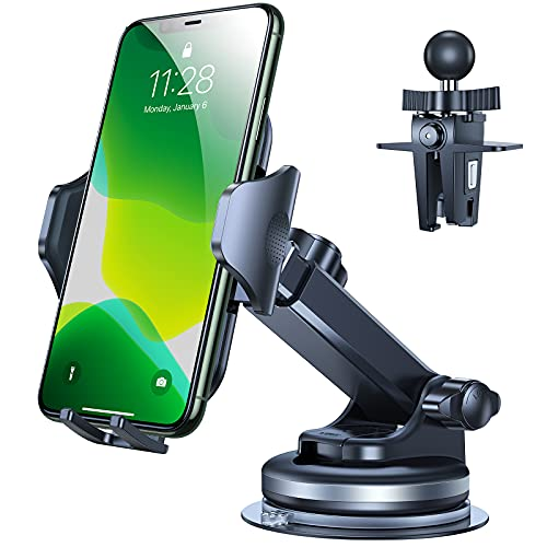 VICSEED Versatile Car Phone Holder Mount, [Don't Fall or Move] Cell Phone Holder for Car Strong Suction Long Arm Car Phone Mount for Dashboard Windshield Air Vent Work for All Phones & Thick Cases