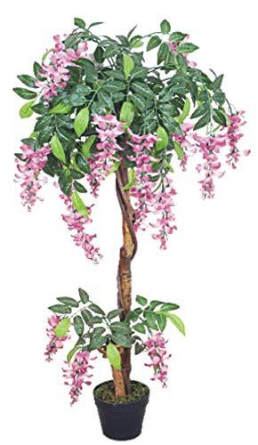 Decovego Blauregen Wisteria Glyzinie Kunstpflanze Kunstbaum Künstliche Pflanze mit Echtholz 120cm