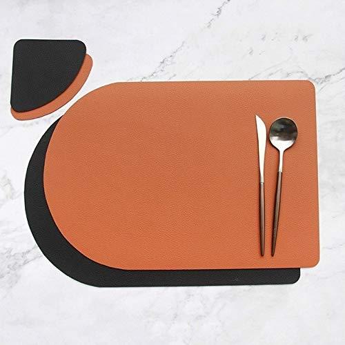 HUIJUNWENTI Tischsets waschbaren Ledertischtuch Pad Matte Tischsets schmutzabweisend Speise Disc Bowl Pad Coaster Anti-Rutsch (Farbe : Chocolate, Größe : Oval)