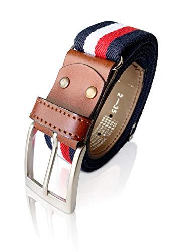 LEGADO Cinturon hombre y pulsera bandera España, cinturon elastico con cuero marron, piel de Ubrique como nuestras carteras y accesorios. (Marino Rojo Blanco)
