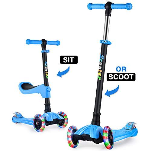 GOOGO Monopattino a Tre Ruote per Bambini con Sedile età 2-13 Anni Kick 3 Ruote Scooter con Ruote a LED, Altezza Regolabile per Bambini Ragazzi Ragazze Scooter Sedile Rimovibile (Blu) …