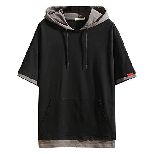 QHJ Kurzarmhemden Herren Herren Kapuzenshirt Fake Two Short Sleeve Tops Herren Sommer Zwei Kurzarm Bluse mit Kappen Fashion Comfort Top (Schwarz, XXXL)