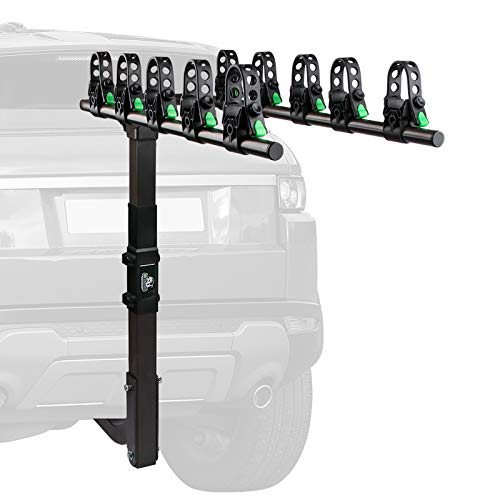 STEGODON 5 Bike Hitch Rack 2'' Hitch Receiver Heavy Duty Bicycle Carrier Racks with Dual Compound Spine Shield Hitch Mount Double Foldable Rack for Cars,Trucks, SUV,Hatchback RV,Tow Hitch and Minivans