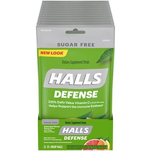 Halls Defense Assorted Citrus Sugar Free Vitamin C Drops, 12 Packs of 25 Drops (300 Total Drops)