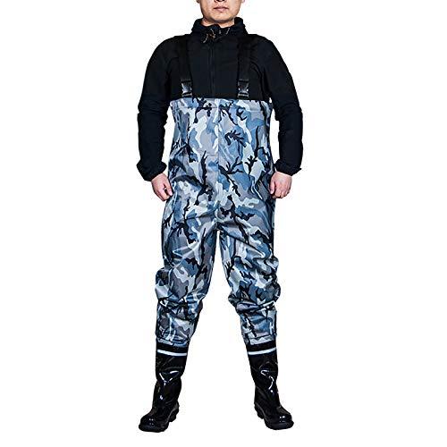 CXYY Angeln Waten Hosen, Jagd Brustwaders Für Männer Mit Stiefeln Mens Womens Hunting Bootfoot Wasserdichtes Nylon Und PVC Mit Watgürtel,Tarnen,EU38