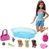 Mattel - Barbie y sus cachorros , muñeca morena con perritos y accesorios, juguetes +3 años ( GDJ39)
