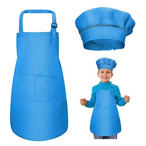 WEONE Kinder Schürze und Kochmütze Set, Kinder Einstellbare Kochschürze Kinderschürzen mit 2 Taschen für Jungen Mädchen, Kind Küchenschürzen für Küche Kochen Backen Malerei (7-13 Jahre) (Blau)