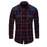 U/A Camisa de cuadros de mezclilla de manga larga para hombre Gules 3XL