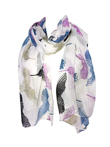 Pamper Yourself Now Cremeweiß pink Kolibri Schal. Schöne, weiche Schal (Creamy white pink hummingbird scarf Lovely soft scarf)