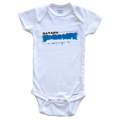 Really Awesome Shirts Havana Cuba Skyline Retro Grafitti Style Baby Onesie, 6-9 Months White