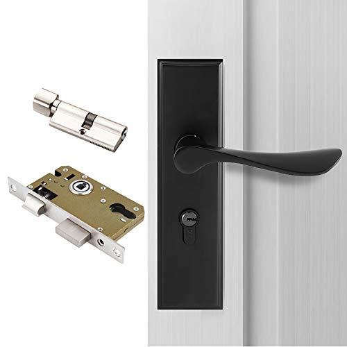 Qrity Manilla para puerta (color negro), cerradura de palanca europea, cerradura de 2 palancas, cilindro, 3 llaves de cobre, aleación de zinc