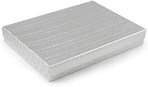 10 个装棉花填充箔银盒珠宝礼品盒和零售盒 5 25X3 75X1 英寸尺寸
