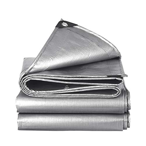 PeiQiH Outdoor Plane Kunststoff Tarp,wasserdicht Uvbeständiges Poly Tarp Sonnenschutztarp Schwere,schutzblatt Für Auftragnehmer Camper Pool Silber 4x5m(13x16ft)